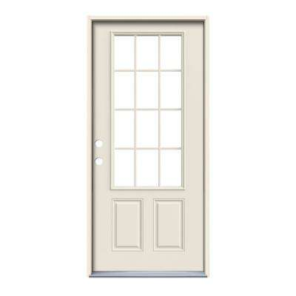 Premium 12-Lite Primed Steel Prehung Front Door