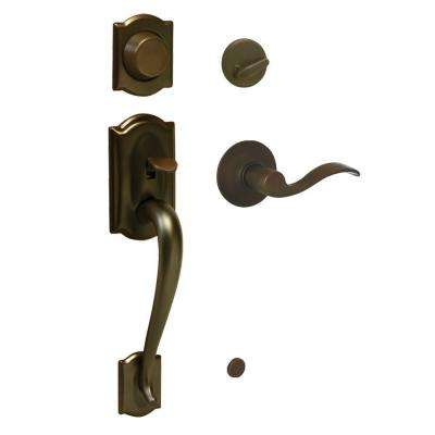 Camelot Oil-Rubbed Bronze Right-Hand Dummy Handleset with Accent Interior Lever