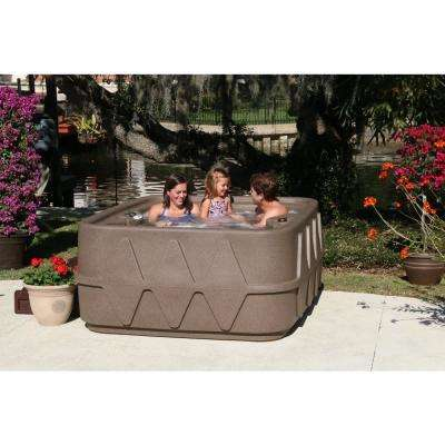 Select 400 4-Person Plug and Play Hot Tub with 20 Stainless Jets and LED Waterfall in Brownstone