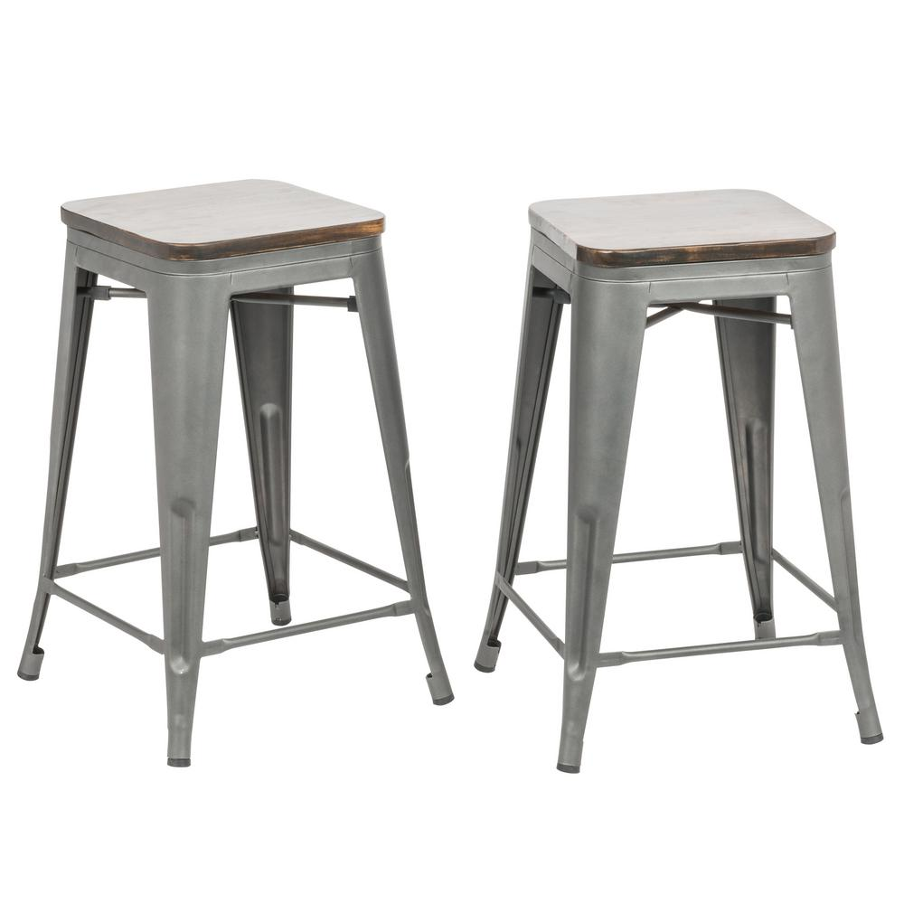 Carolina Forge Cormac 24 In Rustic Pewter Wood Seat Counter Stool