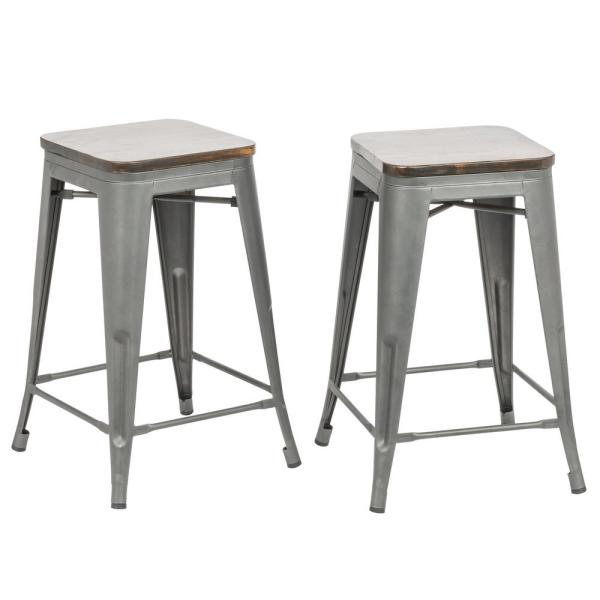 Rustic Pewter Wood Seat Counter Stool