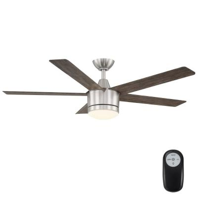 Merwry 52 in. Integrated LED Indoor/Outdoor Brushed Nickel Ceiling Fan with Light Kit and Remote Control
