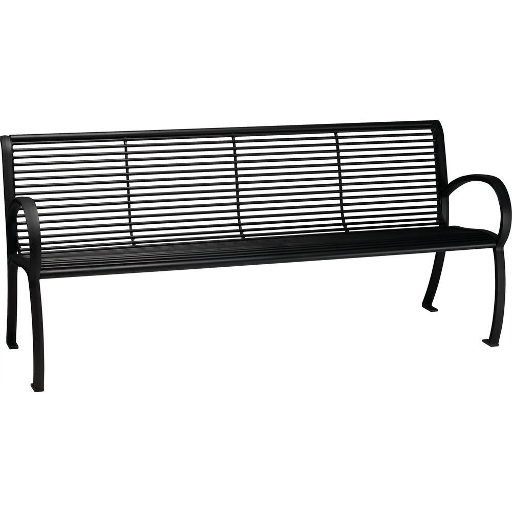 Tranquil 6 ft. Patio Bench with Back in Textured Black