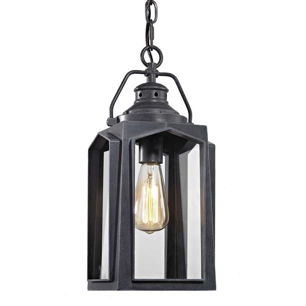 Home Decorators Collection 1 Light Charred Iron Medium Outdoor Hanging Pendant Hd 1513 The