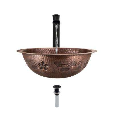 Tri-Mount Bathroom Sink in Copper with 731 Faucet and Grid Drain in Antique Bronze
