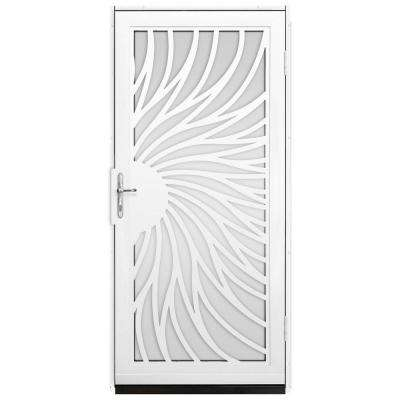 Solstice Outswing Security Door with Shatter-Resistant Glass Inserts and Polished Brass Hardware