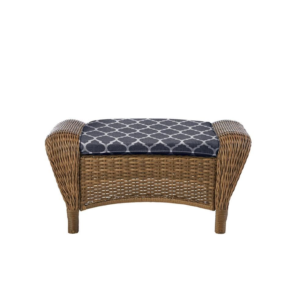Hampton Bay Beacon Park Brown Wicker Outdoor Patio Ottoman with CushionGuard Midnight Trellis Navy Blue Cushions was $209.0 now $165.11 (21.0% off)
