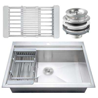 Handcrafted All-in-One Drop-In Stainless Steel 30 in. x 22 in. x 9 in. Single Bowl Kitchen Sink with Tray and Drain