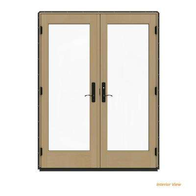 60 in. x 80 in. W-4500 Contemporary Bronze Clad Wood Left-Hand Full Lite French Patio Door w/Unfinished Interior
