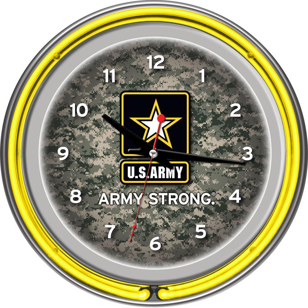 Trademark Global 14 in. U.S. Army Digital Camo Chrome Double Ring Neon Wall Clock
