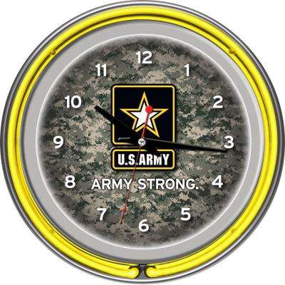 14 in. U.S. Army Digital Camo Chrome Double Ring Neon Wall Clock