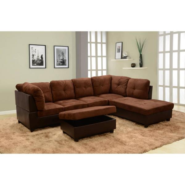 Brown Right Chaise Sectional with Storage Ottoman SH107B - The Home ...