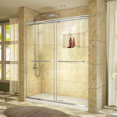 Charisma 32 in. x 60 in. x 78.75 in. Semi-Frameless Sliding Shower Door in Chrome with Center Drain White Base