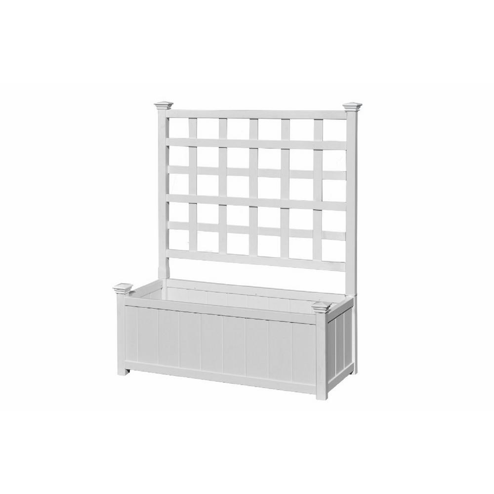 New England Arbors Huron 36 in. x 48 in. White Vinyl Planter with Trellis