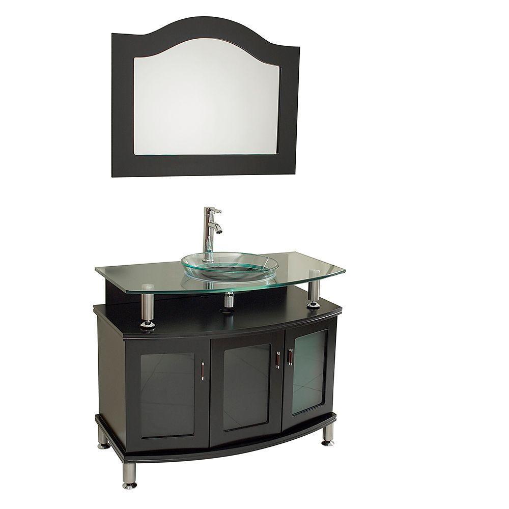 Fresca Contento 40 in. Vanity in Espresso with Glass Vanity Top in Espresso with Clear Basin and Mirror