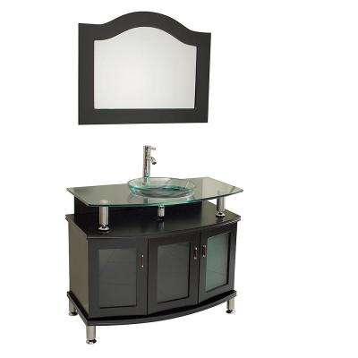 Contento 40 in. Vanity in Espresso with Glass Vanity Top in Espresso with Clear Basin and Mirror