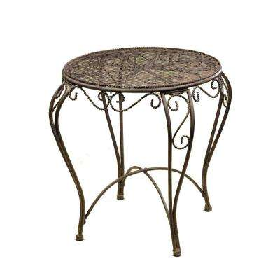 Imperial 18 in. W x 17 in. D x 17 in. H Patina Metal Round Patio Side Table