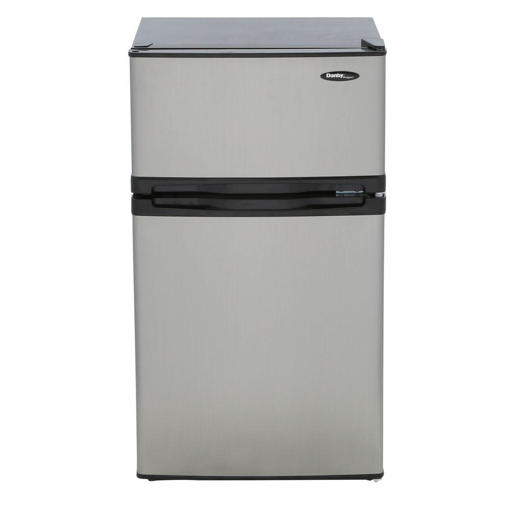 danby 3 1 cu ft mini refrigerator in stainless look dcr031b1bsldd rh homedepot com Danby 4.4 Mini Fridge Danby Fridge Organizer