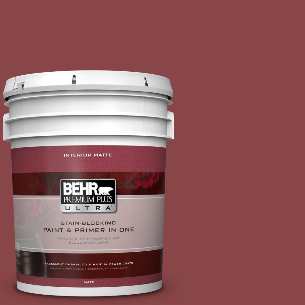BEHR Premium Plus Ultra 5 gal. #PPU1-10 Forbidden Red Flat/Matte Interior Paint