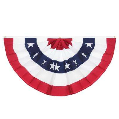3 ft. x 6 ft. USA Pleated Half Fan Flag Bunting Patriotic Stars and Stripes Banner with Canvas Header Brass Grommets