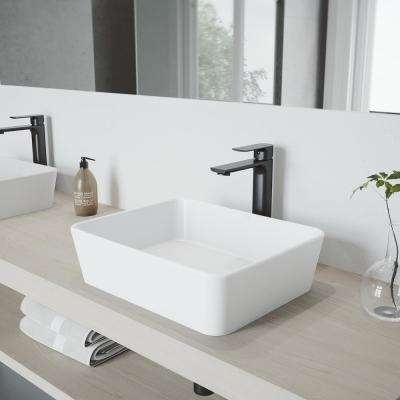 Marigold Vessel Bathroom Sink in White Matte Stone with Norfolk Faucet in Matte Black and Pop-Up Drain Included