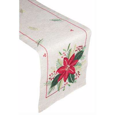 Poinsettia Glitz 100% Polyester Table Runner