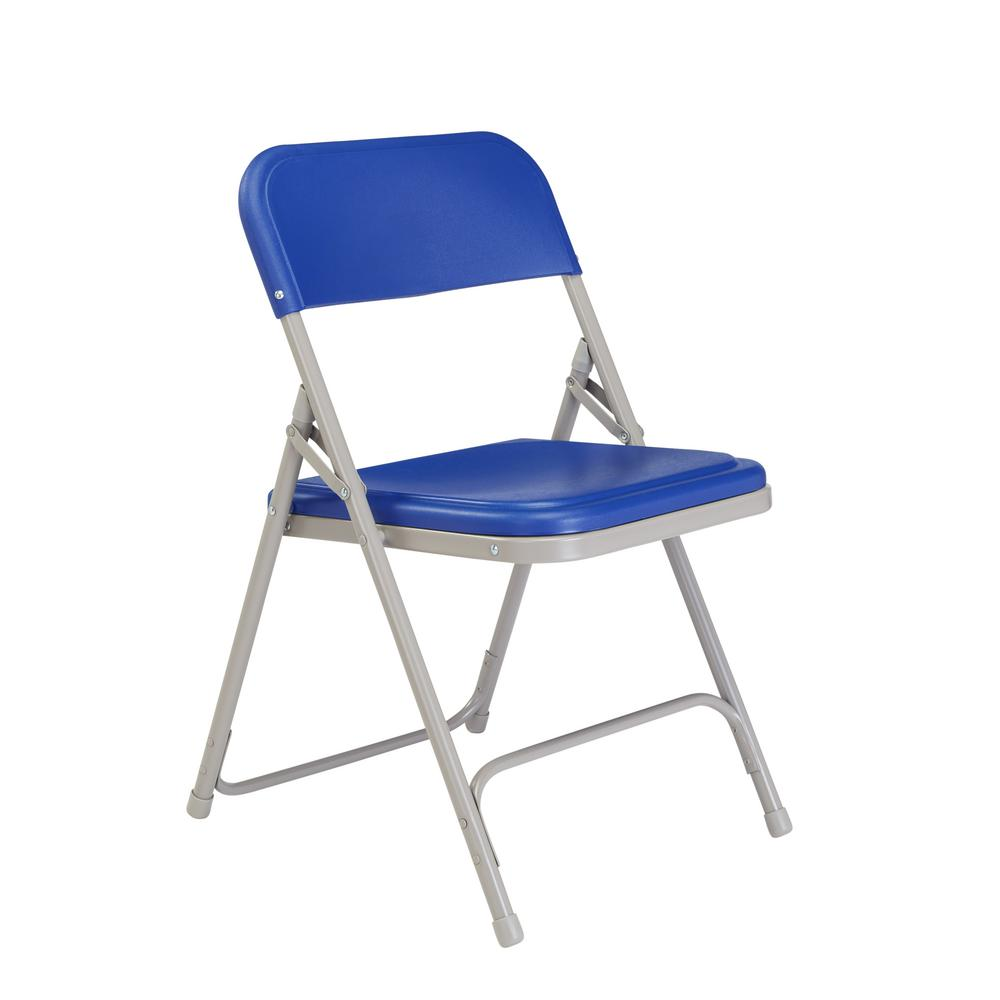 National Public Seating Blue Plastic Seat Stackable Outdoor Safe Folding Chair (Set of 4)