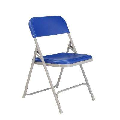 Blue Plastic Seat Stackable Outdoor Safe Folding Chair (Set of 4)