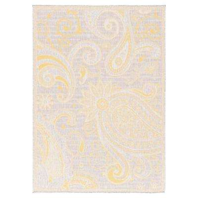 Dejavu Collection Light Grey/Yellow 7 ft. 10 in. x 10 ft. Reversible Anti-Bacterial Area Rug