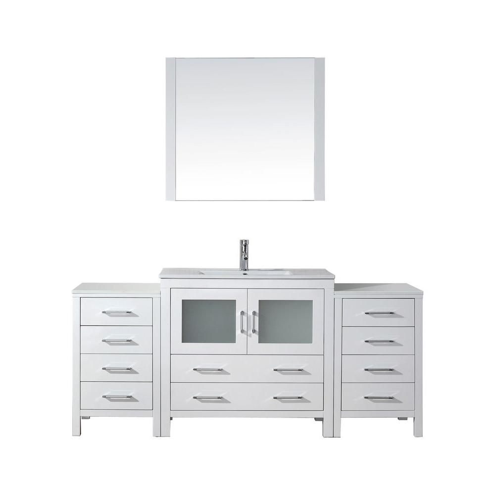 Virtu USA Dior 73 in. W Bath Vanity in White with Ceramic Vanity Top in Slim White Ceramic with Square Basin and Mirror and Faucet