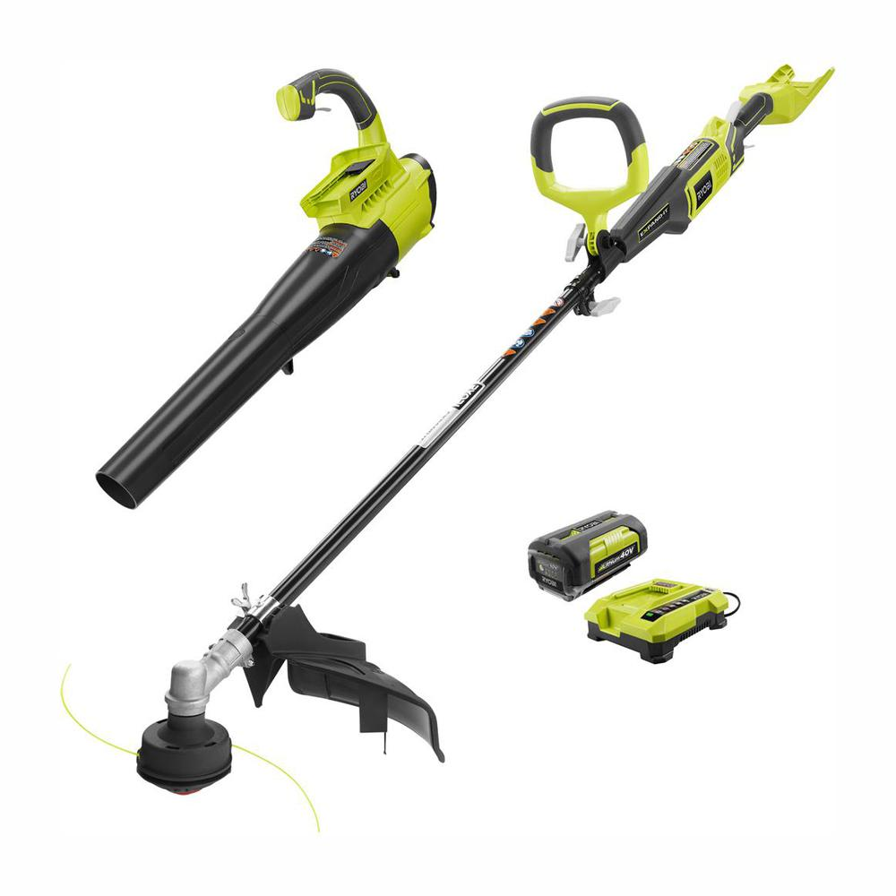 RYOBI Gas-Like Power 40-Volt Lithium-Ion Cordless Jet Fan Blower/Trimmer Combo Kit - 2.6 Ah Battery and Charger Included
