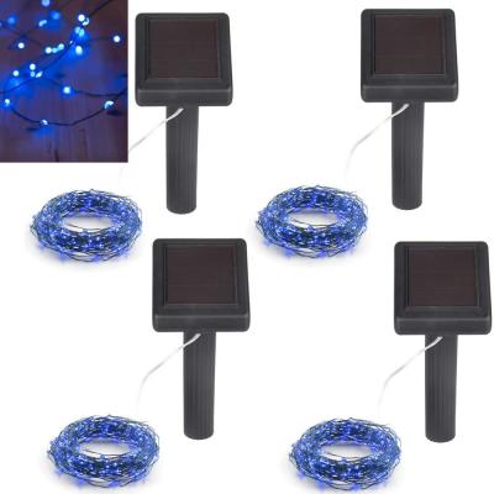 100-Light 20 ft. Integrated Blue Solar Integrated LED String Light (4-Pack)