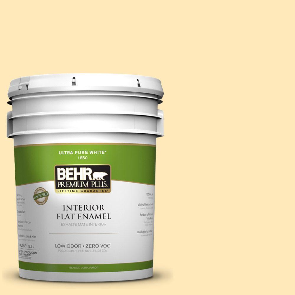 BEHR Premium Plus 5-gal. #320A-3 Cornsilk Zero VOC Flat Enamel Interior Paint-DISCONTINUED