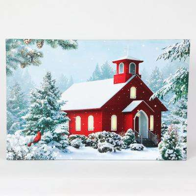 16 in. Winter Wonderland and Church Print with LED Lights
