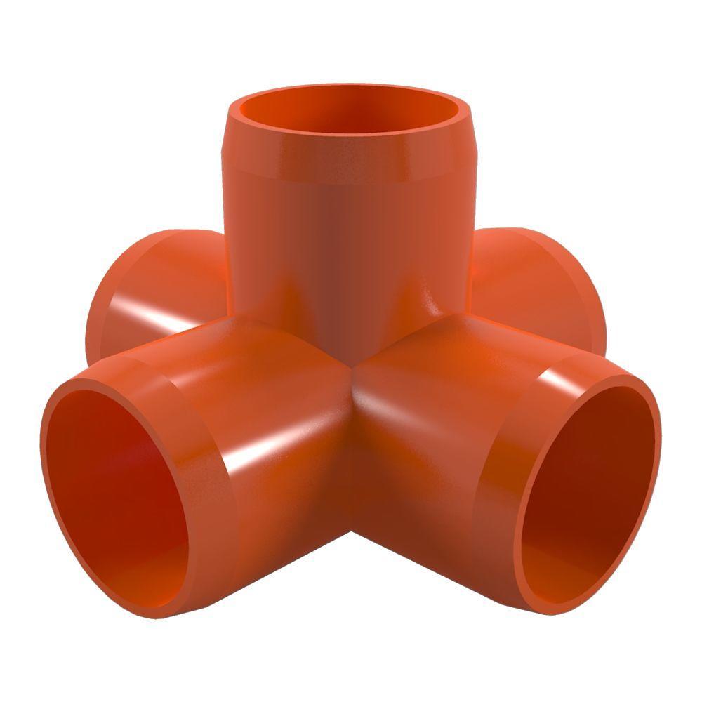1-1/4 in. Furniture Grade PVC 5-Way Cross in Orange (4-Pack)