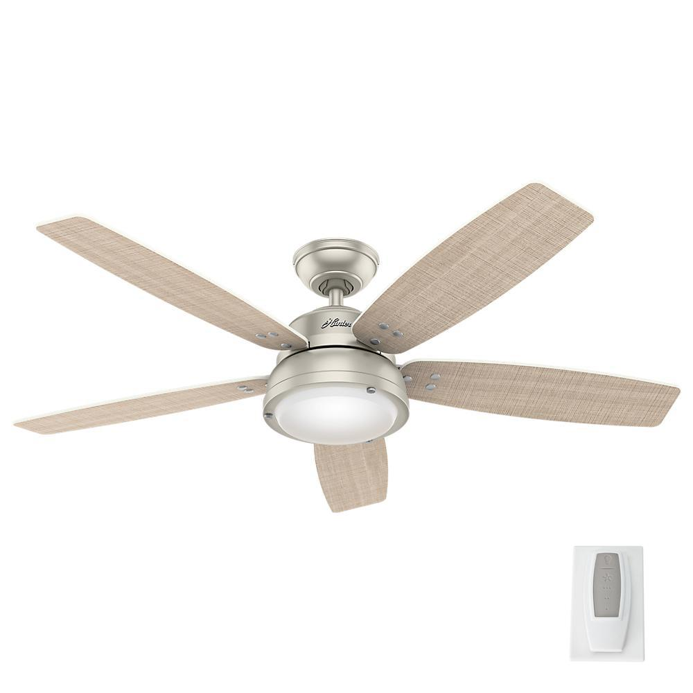 High Speed Outdoor Ceiling Fans: Hunter Channelside 52 In. LED Indoor/Outdoor Matte Nickel