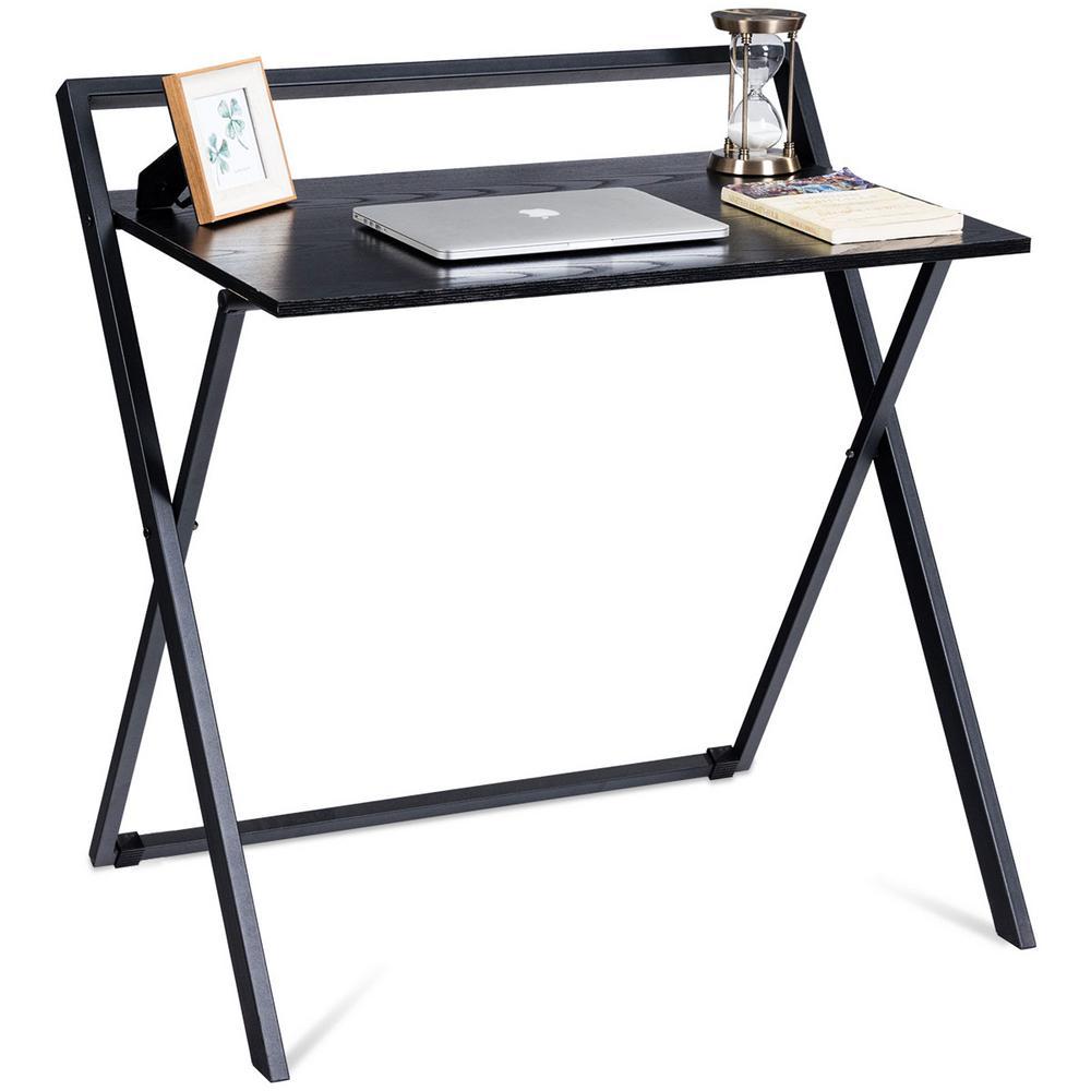 Costway Black Pc Laptop Table Study Workstation Wood Top Metal