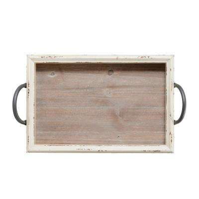 18 in. White Wood Tray