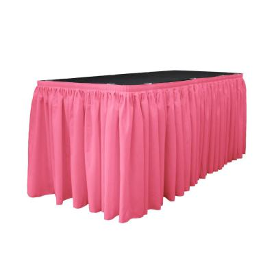 17 ft. x 29 in. Long Hot Pink Polyester Poplin Table Skirt with 10 L-Clips