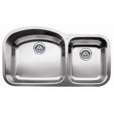 Wave Undermount Stainless Steel 37 in. 1-3/4 Bowl Kitchen Sink