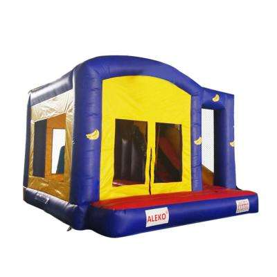 Banana Design Bounce House with Basketball Hoop Slide Climbing Wall and Blower
