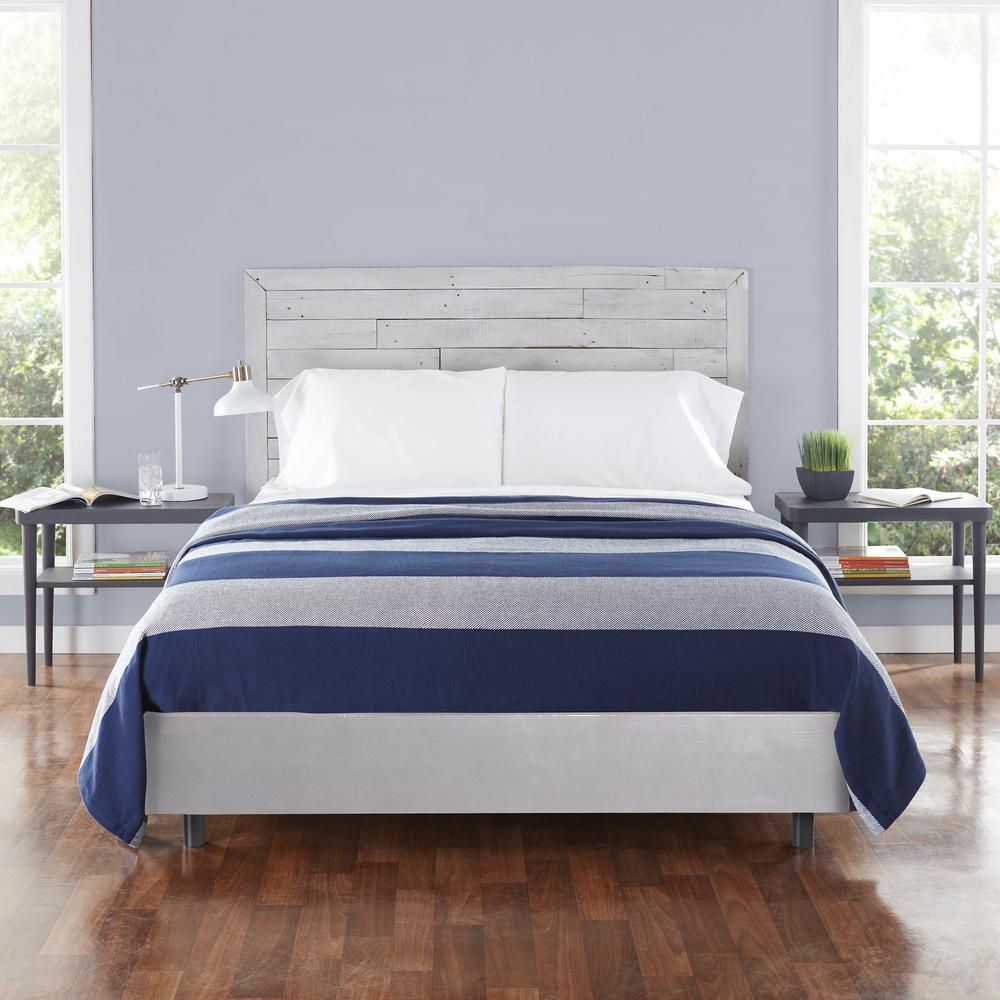 Boylston Navy Blue Striped Cotton Full/Queen Woven Blanket