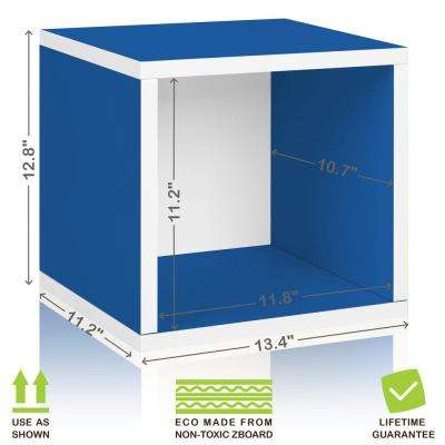 Eco Stackable zBoard 11.2 x 13.4 x 12.8 Tool-Free Assembly Storage Cube Unit Organizer in Blue