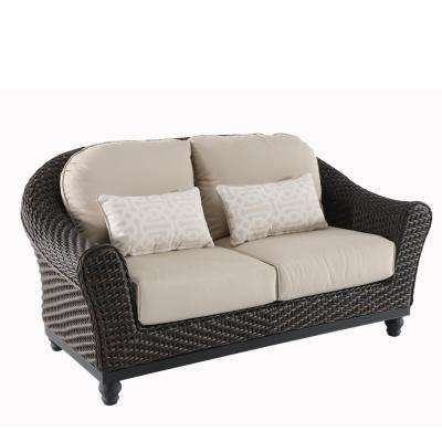 Camden Dark Brown Wicker Outdoor Patio Loveseat with Sunbrella Antique Beige & Fretwork Flax Cushions