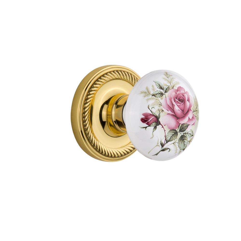 Rope Rosette Single Dummy White Rose Porcelain Door Knob in Polished Brass