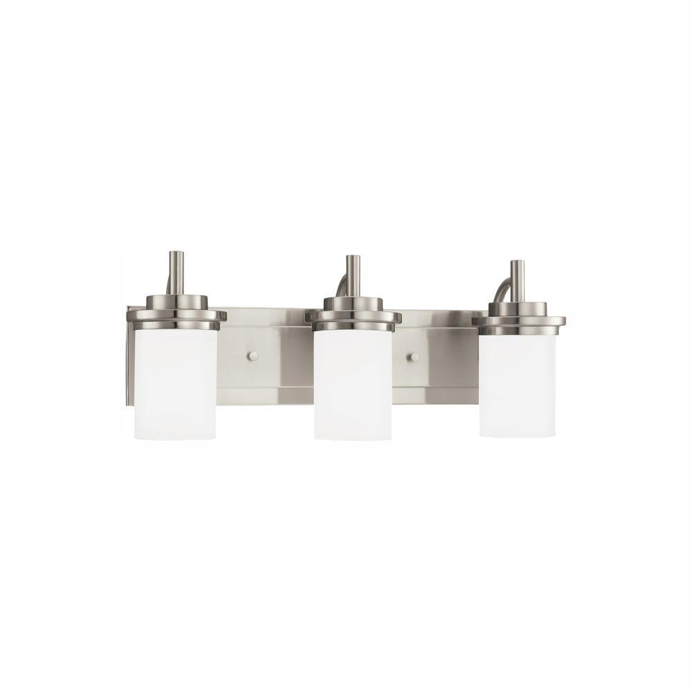 Winnetka 3-Light Brushed Nickel Bath Light with LED Bulbs