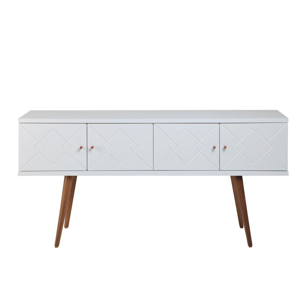 Manhattan Comfort Trinity 59.84 In. White Mid-Century