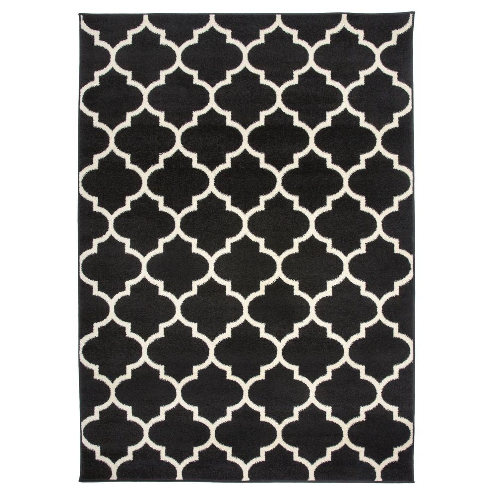 World Rug Gallery Contemporary Modern Moroccan Trellis 2 X 3 Black 962black2x3 The Home Depot