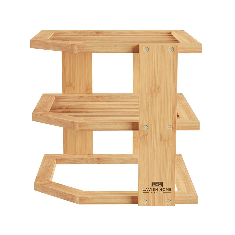 3 Tier Bamboo Corner Shelving Unit