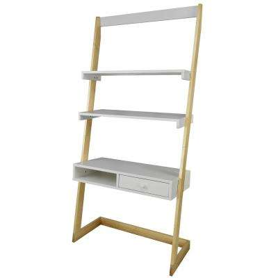2-Tone Natural Maple, White Freestanding Ladder Desk with Drawer and Solid American Maple Frame